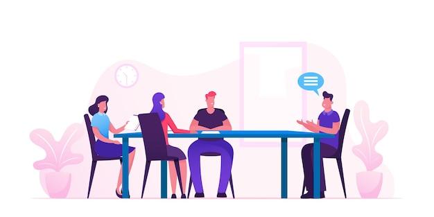 オフィスの取締役と従業員のビジネスボード会議。漫画フラットイラスト