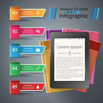 Business book infographic. digital gadget