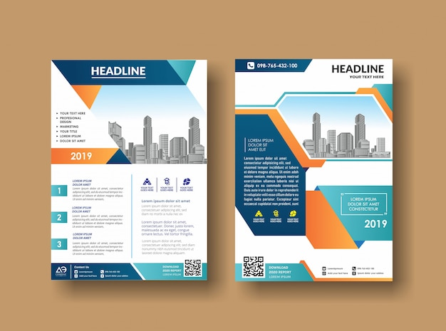 Business book leaflet cover design in a4 magazines