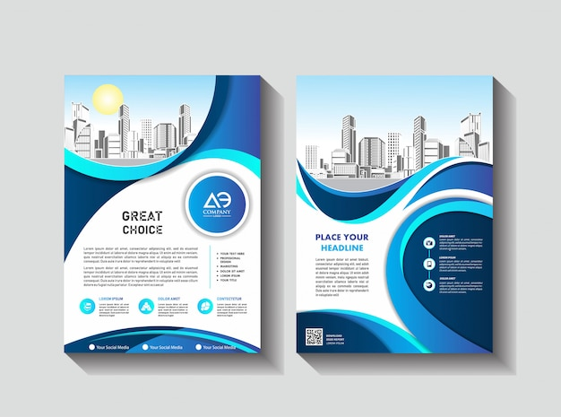 Business book leaflet cover design in a4