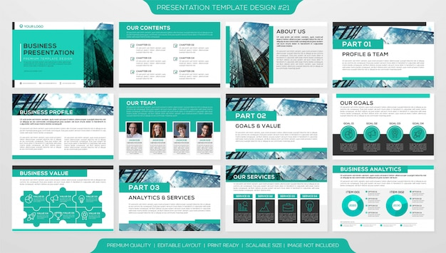 Business booklet or corporate profile with multiple pages template