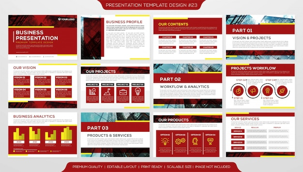 ビジネスブックレットまたは複数のページテンプレートを持つ企業プロファイル