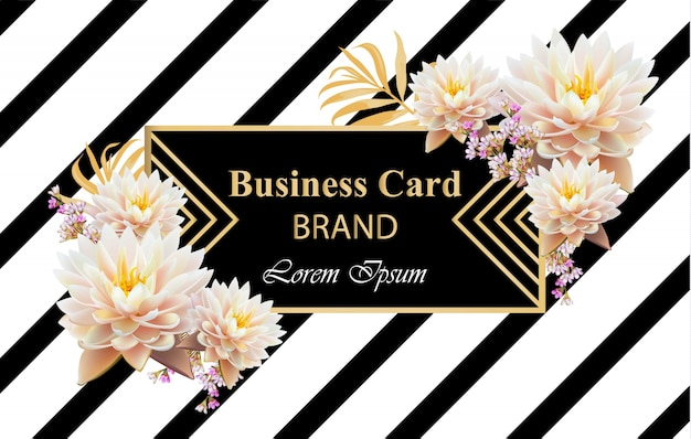 Business brand card with realistic flowers vector. abstract modern designs backgrounds
