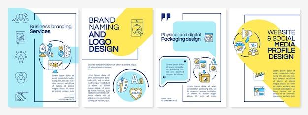 ビジネスブランディングサービスパンフレットテンプレート。ブランドスタイル。チラシ、小冊子、リーフレットプリント、線形アイコンのカバーデザイン。プレゼンテーション、年次報告書、広告ページのベクターレイアウト