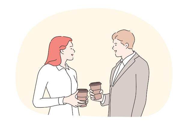 ビジネス、休憩、コミュニケーション、会話、友情の概念。ビジネスマン女性店員マネージャー