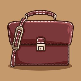 비즈니스 서류 가방 만화 그림 아이콘 컨셉 디자인입니다. 무료 벡터