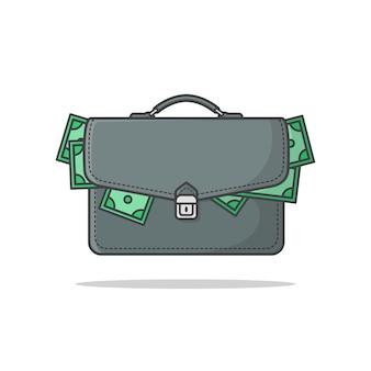 お金のアイコンイラストでいっぱいのビジネスブリーフケース。お金のフラットアイコンとスーツケース。お金の袋のアイコン