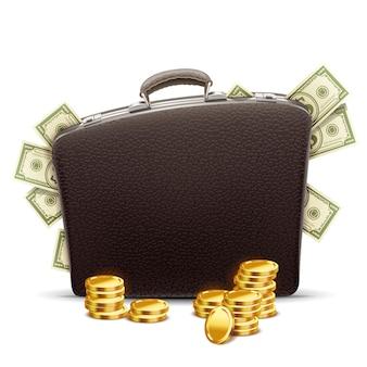Деловой портфель, полный денег