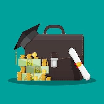 Бизнес портфель, выпускной колпачок, деньги, диплом