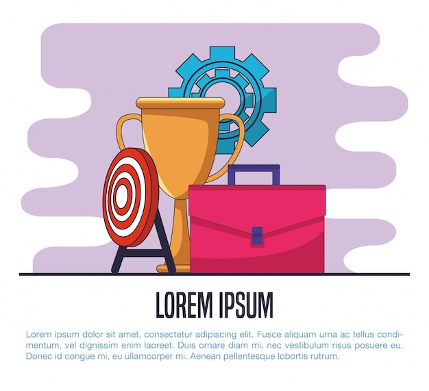 Business briefcase with trophy cup and dartboard target vector illustration graphic design