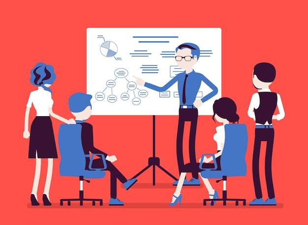 사무실에서 비즈니스 브리핑입니다. 직원 회의, 새로운 프로젝트 정보 및 지침, 관리자 브레인스토밍, 계약 또는 계약 협상. 벡터 일러스트 레이 션, 얼굴 없는 문자