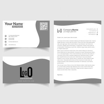 밝은 회색 배경 벡터와 비즈니스 브로셔 및 명함 설정