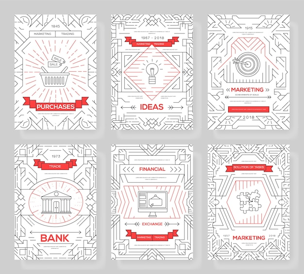Business  brochure cards thin line set. marketing template of flyear, magazines, posters, book cover, banners. layout outline illustrations modern