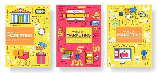 ビジネスパンフレットカード細線セット。 flyear、雑誌、ポスター、本の表紙、バナーのマーケティングテンプレート。モダンなレイアウト概要イラスト