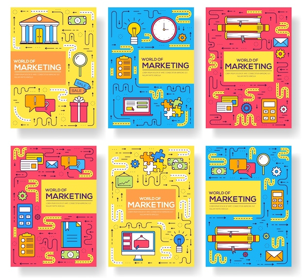 Набор тонкой линии визитки брошюры. маркетинговый шаблон flyear, журналов, плакатов, обложек книг, баннеров. макет наброски иллюстраций современный