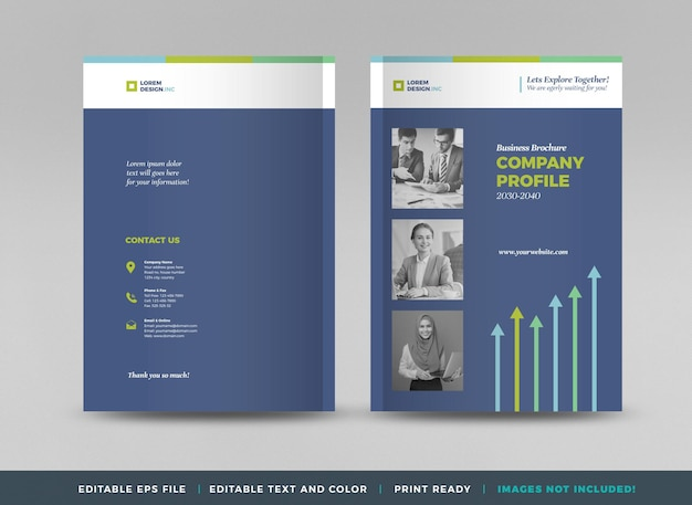Business brochure cover design or annual report and company profile or booklet cover