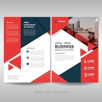 赤い三角形のビジネスパンフレット表紙レイアウトテンプレート
