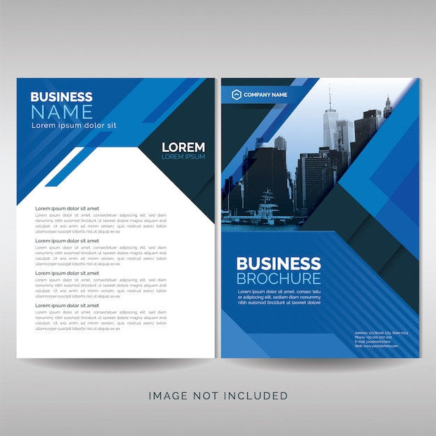 Business brochure cover template with blue geometric shapes