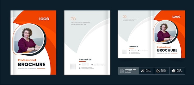 Business brochure design cover theme template colorful modern minima corporate bi fold brochure