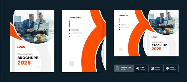 Business brochure design cover theme template orange color modern abstract bi fold brochure layout