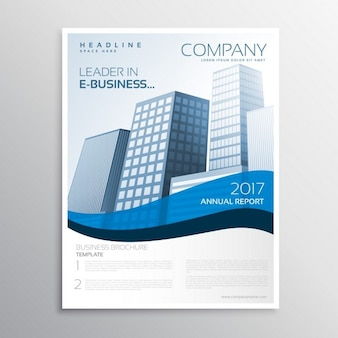 Business brochure design with wave