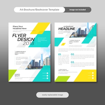 Business brochure, flyer, bookcover design with city background and geometrical shapes