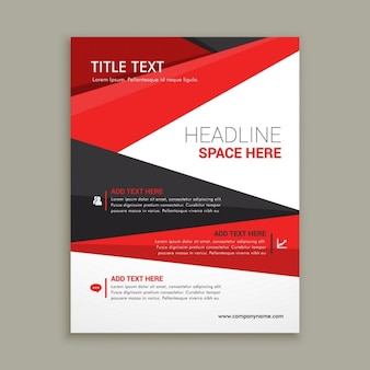 Business brochure flyer design with red shapes