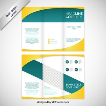 Business brochure in green and yellow tones