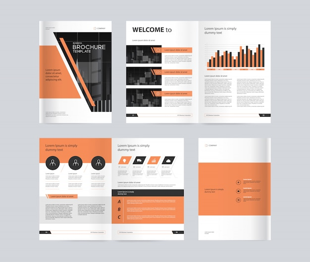 Business brochure layout design template with orange color