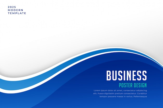 Business brochure presentation template in blue wave style