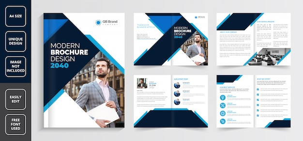 ビジネスパンフレットのテンプレート、クリエイティブパンフレットのテンプレート、企業のパンフレットのテンプレート、会社概要のパンフレットのテンプレート、8ページのビジネスのパンフレットのテンプレート、