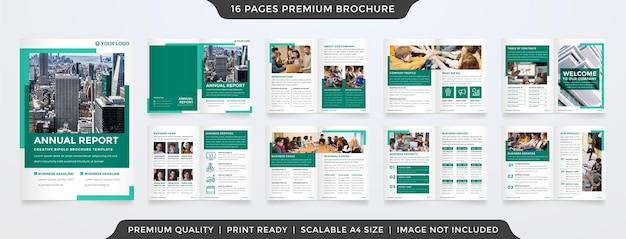 ビジネス提案のためのミニマリストでクリーンなコンセプトの使用によるビジネスパンフレットテンプレートデザイン