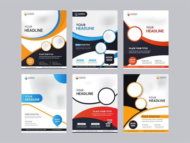 Business brochure template or flyer design with copy space in six options