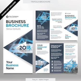 트라이 배 레이아웃에서 비즈니스 브로슈어 서식 파일입니다. 교체 가능한 이미지가있는 기업 디자인 전단지.