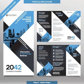 Шаблон бизнес-брошюры в тройном макете. брошюра о корпоративном дизайне со сменным изображением.