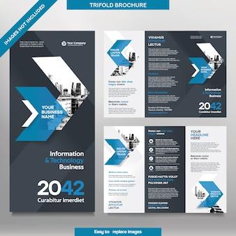 三つ折りレイアウトのビジネスパンフレットテンプレート。交換可能な画像付きの企業デザインチラシ。