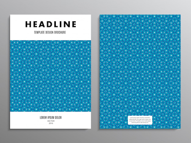 Business brochure, template or layout design flyer in a4 size with abstract blue pattern on background.