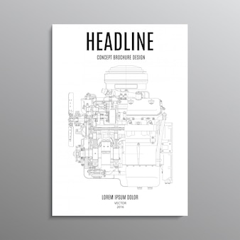 Business brochure, template or layout design flyer in a4 size with engine on background.