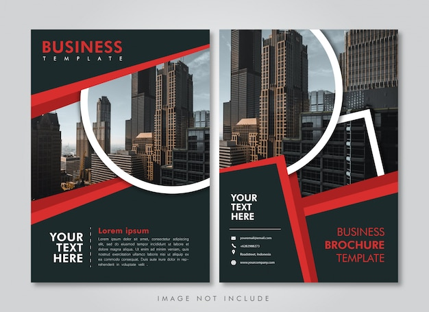 Business brochure template red strip