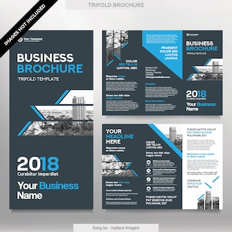 Business brochure template in tri fold layout. corporate design leaflet with replacable image.