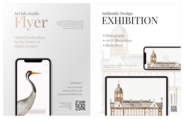 Business brochure template vector in elegant design for an art company with digital device