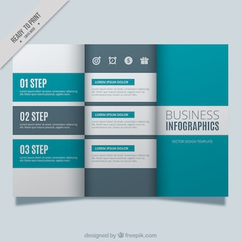 Business brochure template with blue and gray shapes