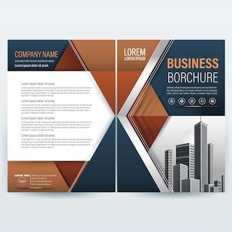 茶色と灰色の幾何学的形状を持つビジネスパンフレットテンプレート