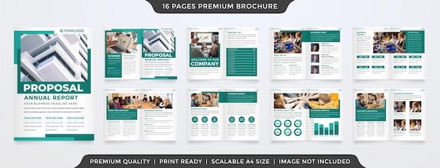 クリーンでミニマリストスタイルのビジネスパンフレットテンプレート Premiumベクター