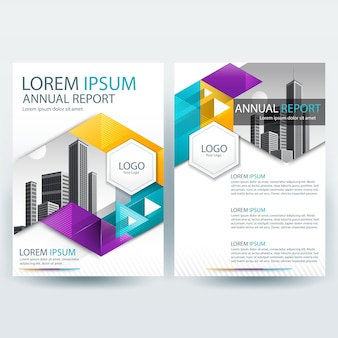 Business brochure template with geometric shapes