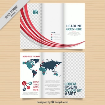 business brochure template with map and wavy forms