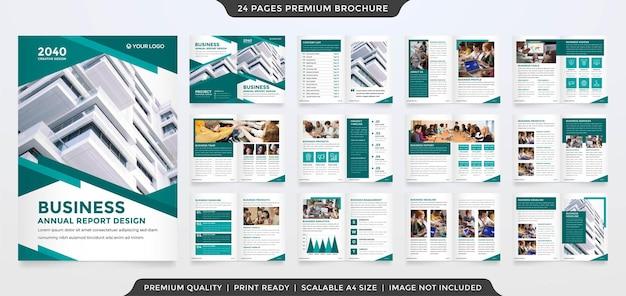 비즈니스 연례 보고서 및 회사 프로필에 미니멀한 스타일을 사용하는 비즈니스 브로셔 템플릿
