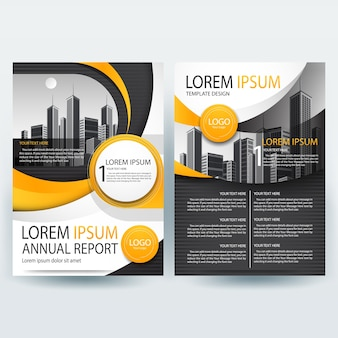 Business brochure template with orange and black wavy shapes