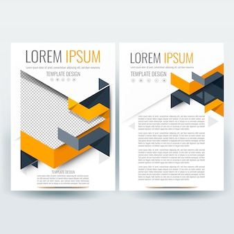 Business brochure template with orange and gray polygon shapes