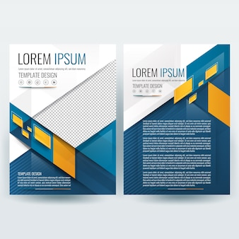 Business brochure template with orange and teal geometric shapes